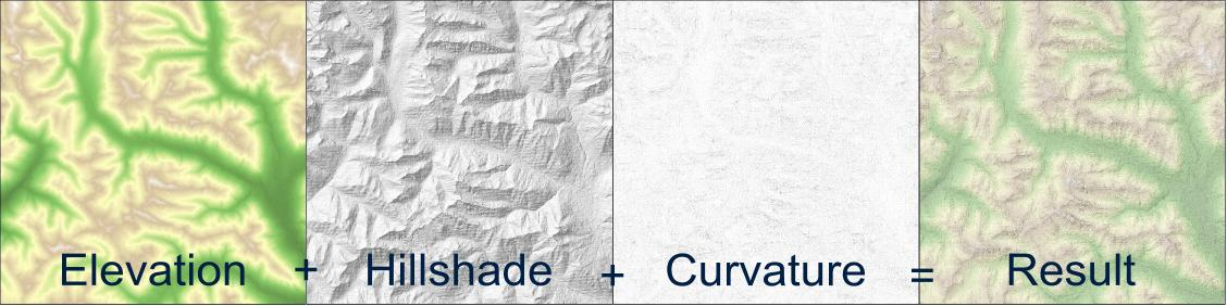 Not your usual type of raster math! Combining a transparent hillshade and curvature raster over top of a tinted elevation raster produces a very pleasing effect.