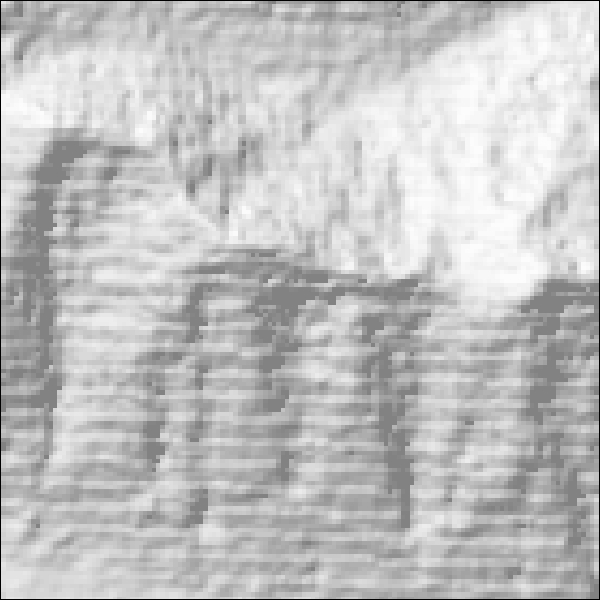 A hillshade made with low resolution data.
