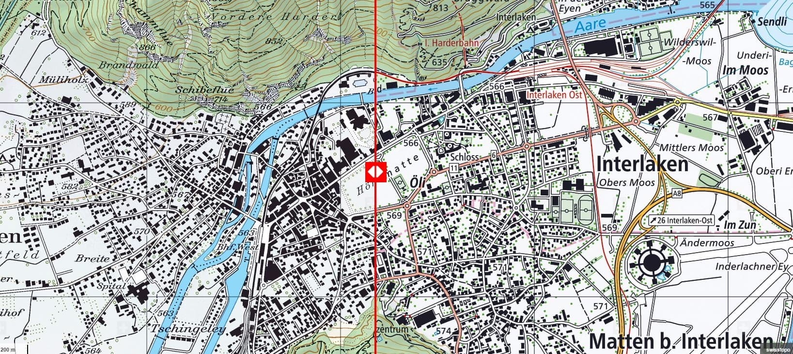 A comparison of old (left) and new (right) topographic maps produced by swisstopo.