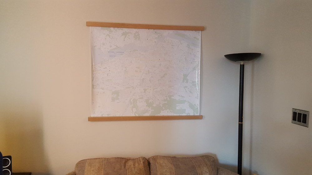 Photo of the printed map hung on my wall